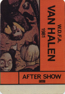 Van Halen Backstage Pass
