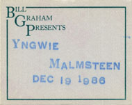 Yngwie J. Malmsteen Backstage Pass