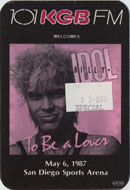 Billy Idol Backstage Pass