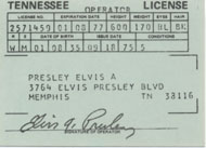 1975 Elvis Souvenir Driver's License Laminate
