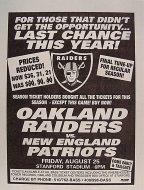 Oakland Raiders VS. New England Patriots Handbill