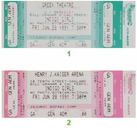 Indigo Girls Vintage Ticket