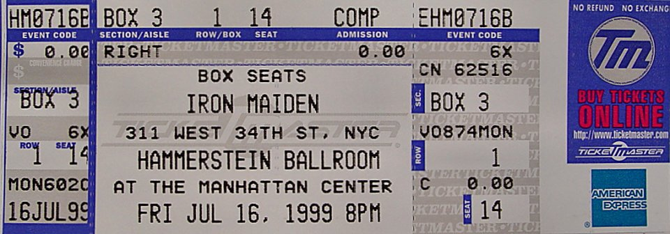 iron maiden vintage ticket from hammerstein ballroom jul 16 1999 at wolfgang 39 s. Black Bedroom Furniture Sets. Home Design Ideas
