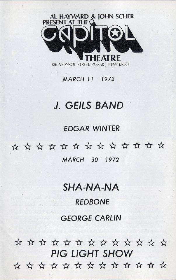 J. Geils Band Program reverse side