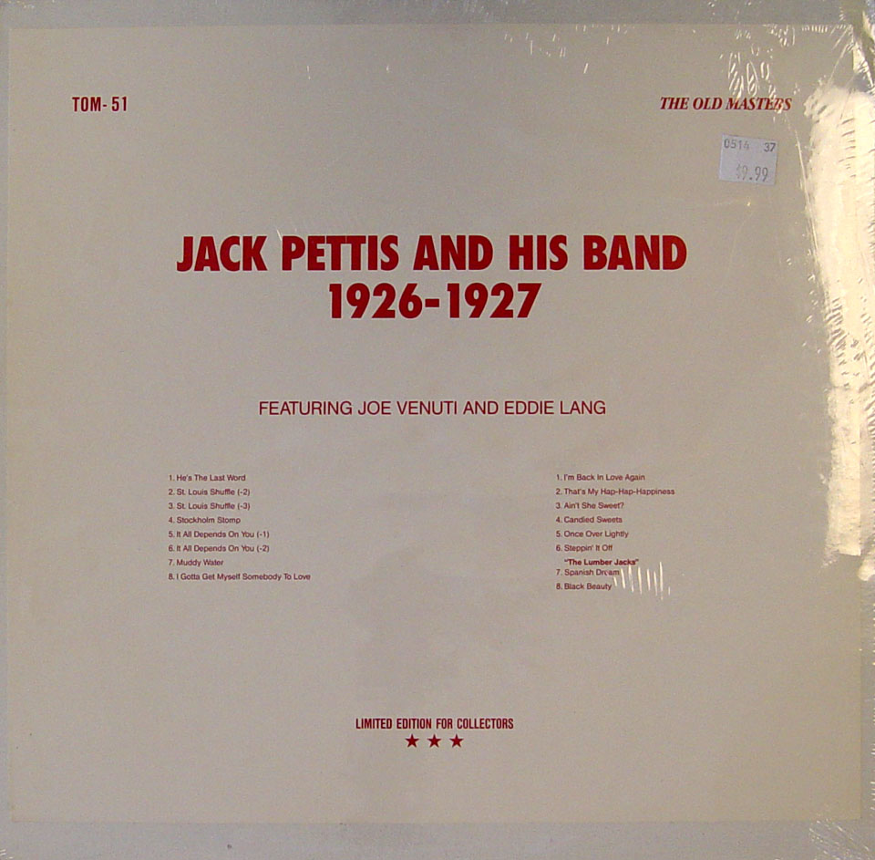 """Jack Pettis And His Band Vinyl 12"""" (New)"""