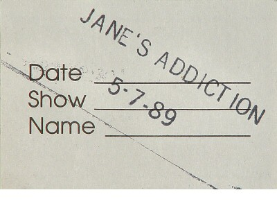 Jane's Addiction Backstage Pass reverse side