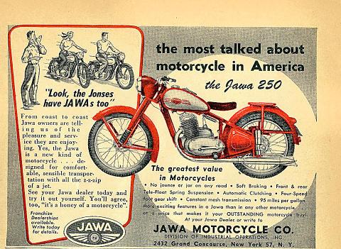 Jawa Motorcycle 250 Vintage Ad