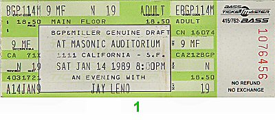 Jay Leno Vintage Ticket