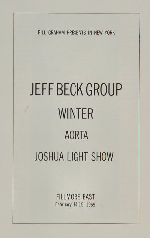 Jeff Beck Group Program reverse side