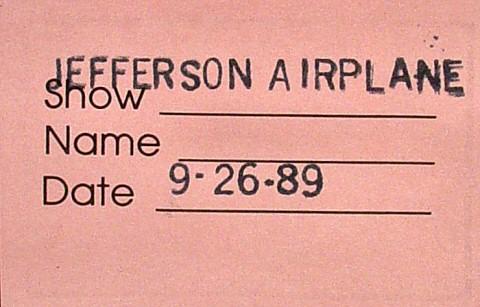 Jefferson Airplane Backstage Pass reverse side