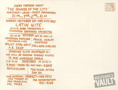 Jefferson Airplane Postcard reverse side