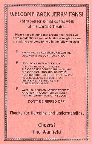 Jerry Garcia Band Handbill reverse side