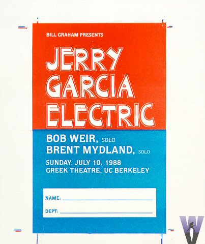 Jerry Garcia Band Laminate reverse side