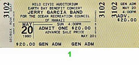 Jerry Garcia Band Vintage Ticket