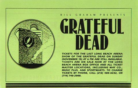 Jerry Garcia Handbill reverse side