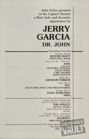 Jerry Garcia Program reverse side