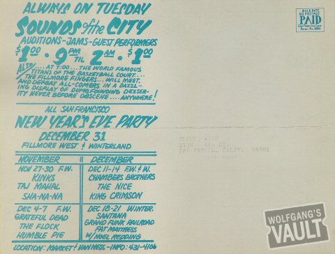 Jethro Tull Postcard reverse side