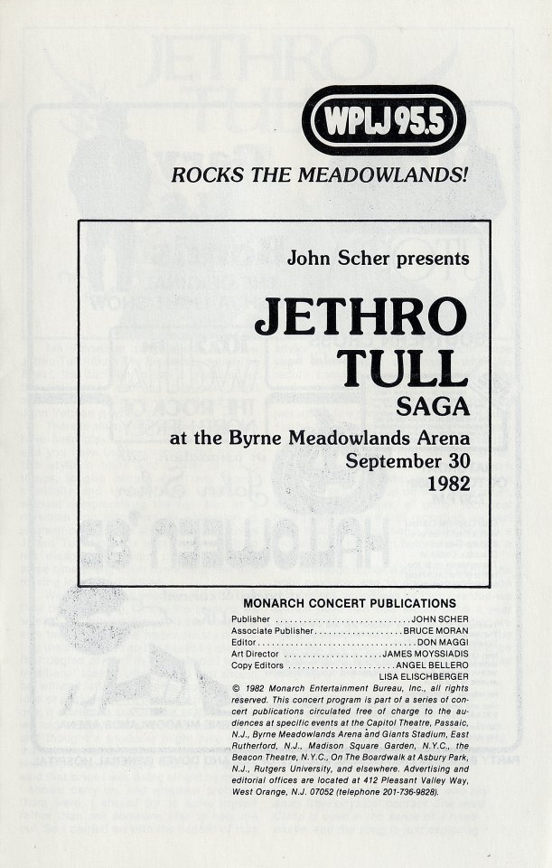 Jethro Tull Program reverse side