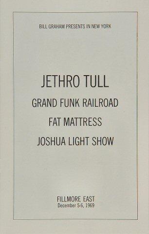 Jethro Tull Program reverse side