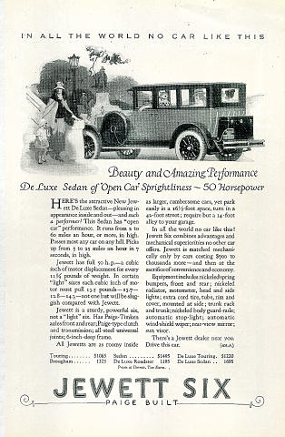Jewett Six: Deluxe Sedan Vintage Ad