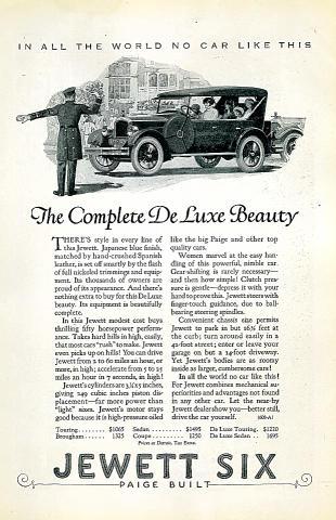 Jewett Six: DeLuxe Vintage Ad