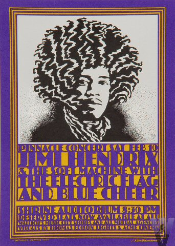 Jimi Hendrix Experience Vintage Concert Poster From Shrine
