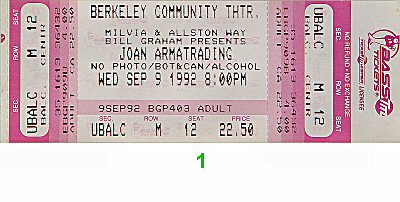 Joan Armatrading Vintage Ticket