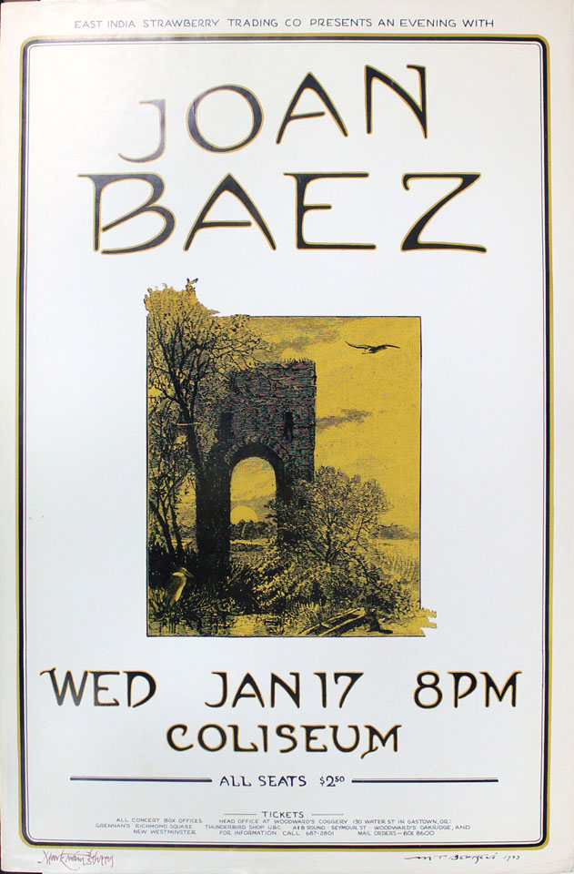 Joan Baez Poster From Sam Houston Coliseum Jan 17 1973