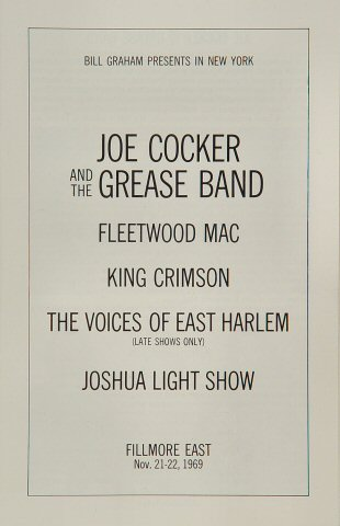 Joe Cocker & The Grease Band Program reverse side