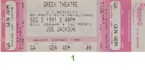 Joe Jackson Vintage Ticket