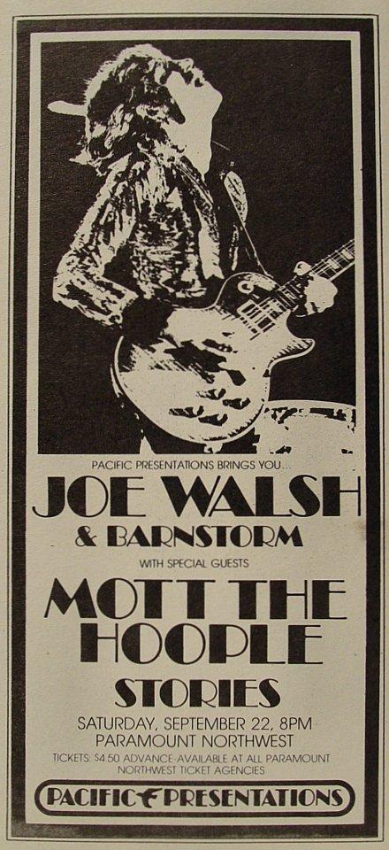 Joe Walsh & Barnstorm Handbill
