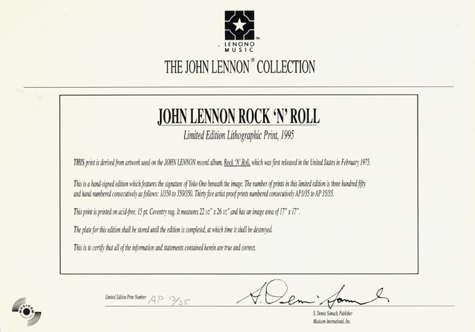 John Lennon Poster reverse side