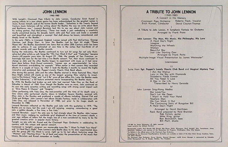 John Lennon Program reverse side