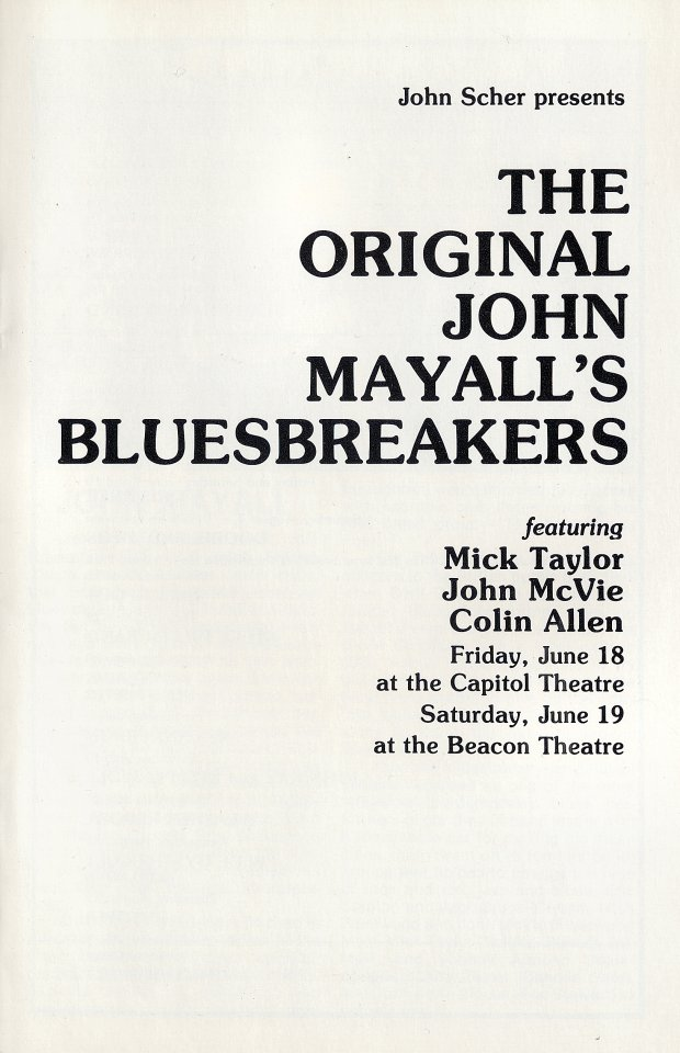 John Mayall & the Bluesbreakers Program reverse side