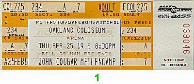 John Mellencamp Vintage Ticket