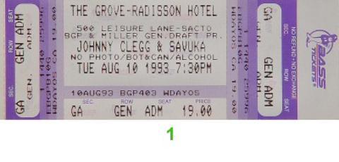 Johnny Clegg and Savuka Vintage Ticket