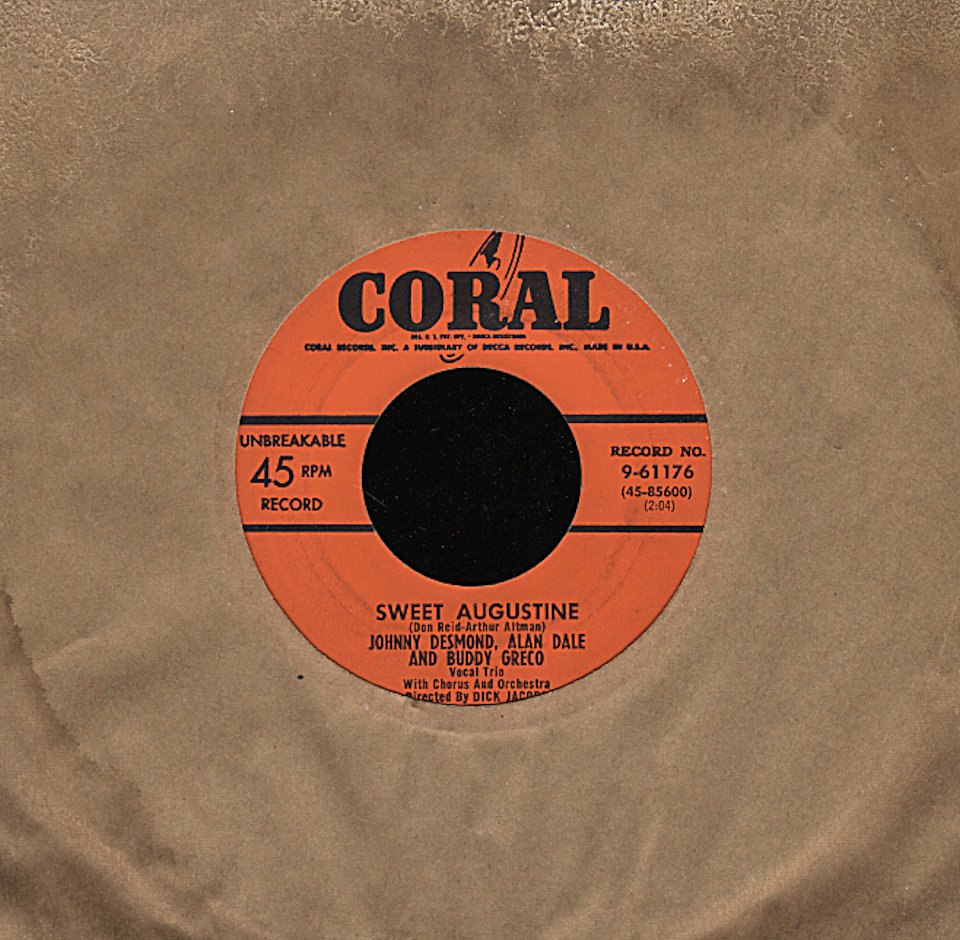 """Johnny Desmond, Alan Dale and Buddy Greco Vinyl 7"""" (Used)"""