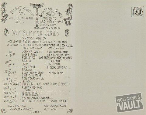 Johnny Winter Postcard reverse side