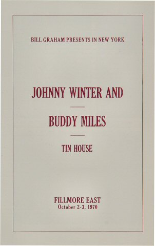 Johnny Winter Program reverse side