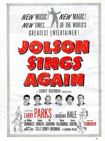 Jolson Sings Again Vintage Ad
