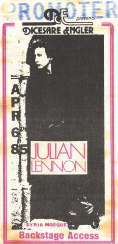 Julian Lennon Backstage Pass