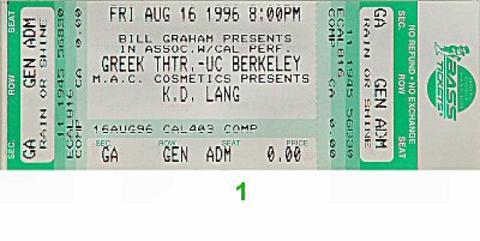 k.d. lang Vintage Ticket