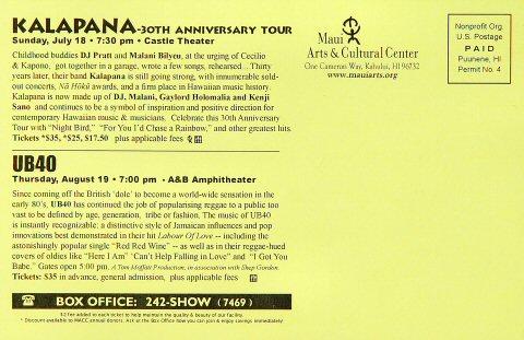 Kalapana Handbill reverse side