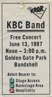 KBC Band Backstage Pass