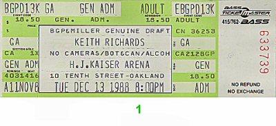 Keith Richards Vintage Ticket