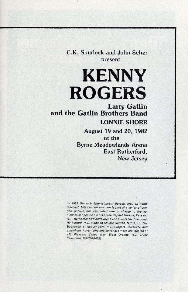 Kenny Rogers Program reverse side