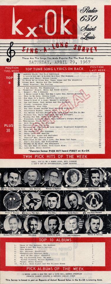 Kxok Radio 630 Sing A Long Survey Vintage Concert Handbill