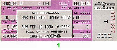 Laurie Anderson Vintage Ticket