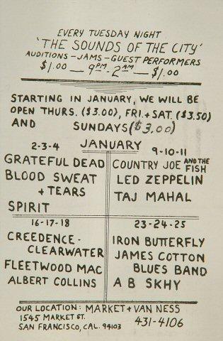Led Zeppelin Handbill reverse side