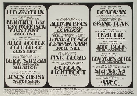 Led Zeppelin Poster From Berkeley Community Theatre Sep